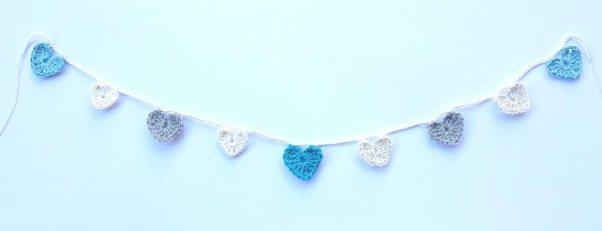 grey aqua heart garland