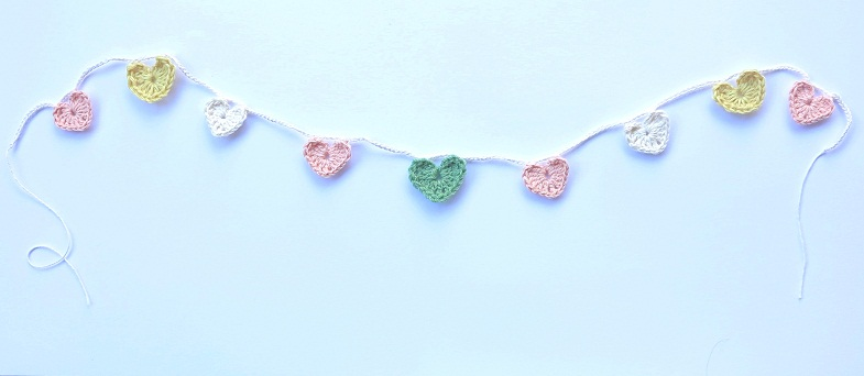 pink and green heart garland